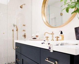 navy gold bathroom